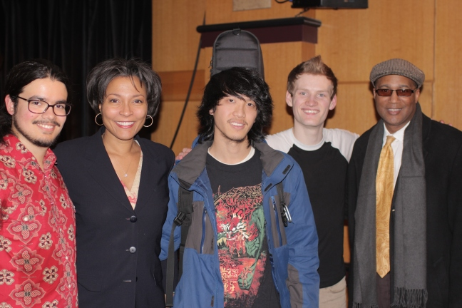 Left to Right: Brogan Woodburn, Dr. Krystal Banfield-Dean, Berklee City Music, Aaron Liao, Austin Devries, and  J. Curtis Warner, Jr.  Associate Vice President,  Education Outreach Executive Director, Berklee City Music
