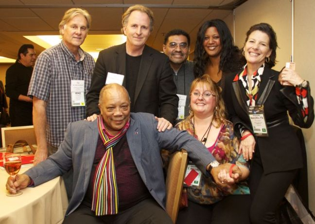 From left to right: Mike Anderson, Executive Vice President Project RYTMO; Quincy Jones; Roger H. Brown, President, Berklee College of Music; Joey Arreguin, Executive Director, Project RYTMO; Regina Nixon, Executive Director, The Phoenix Conservatory of Music; Charyn Harris, Director of Music Program, A Place Called Home; Madelyn Bonnot, Executive Director, Quincy Jones Musiq Consortium.