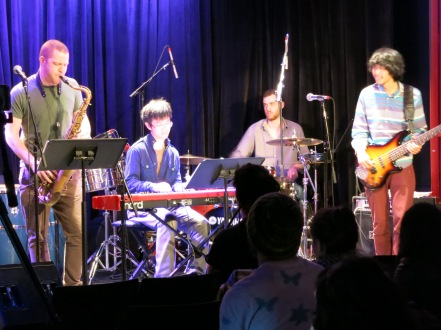 Aaron Liao Senior Recital April 9, 2013 - From left to right: Matthew Halpin (Tenor Saxophone), Christian Li (Keyboard), Ian Barnett (Drums), Aaron Liao (Bass)