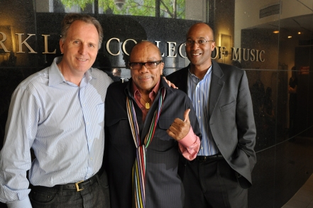 Roger H. Brown, President of Berklee College of Music; Quincy Jones; J. Curtis Warner, Jr., Executive Director of Berklee City Music