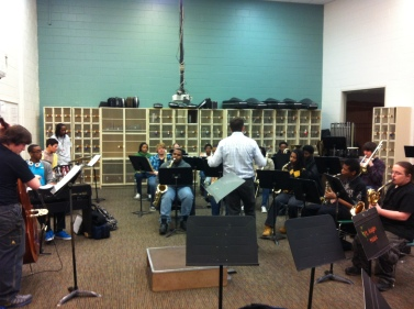 Mr. Donavan rehearses the Fort Hayes Jazz Band