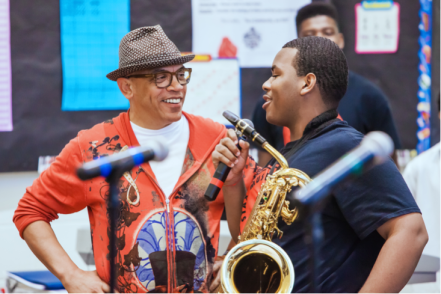 Rickey Minor with Stax Music Academy Student-Photo Courtesy of Ronnie Booze Photography