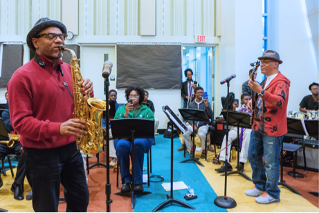 Kirk Whalum and Rickey Minor with Stax Academy Students - Photo Courtesy of Ronnie Booze Photography