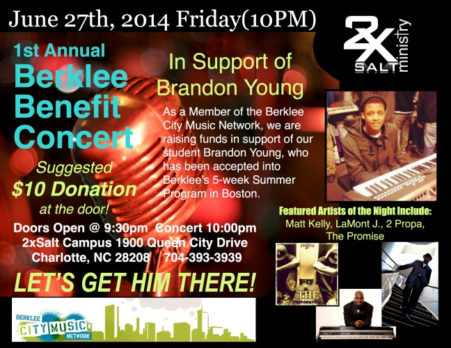 2xSalt Berklee Brandon Young Benefit Concert June 27