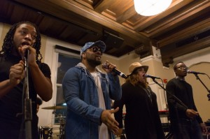 Neo soul icon Musiq Soulchild performed with Berklee City Music Boston students during a master class at Berklee College of Music on Friday, December 4. Pictured, from left to right: Kamar Satchell, Musiq Soulchild, Sarah Coelho, and Peter George. Photo by Michael D. Spencer.